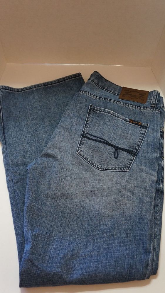bb458ea75 SEVEN 7 BOOT CUT SM71 BLUE JEANS 38X34 EUC DISTRESSED mens premium denim   Seven  BootCut