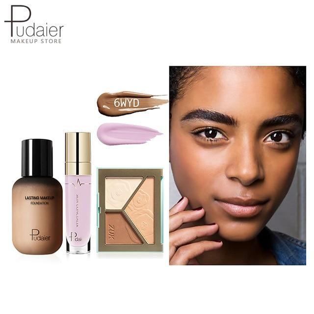Pudaier Face Foundation Make-up Set Liquid Foundation Creme Matt Highlighter Base Gesicht ALL Concealer Cosmetic Professional Base – 6WYD