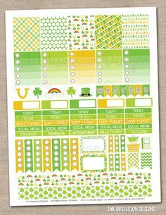 St. Patricks Day Printable Planner Stickers Weekly Kit Instant Download PDF