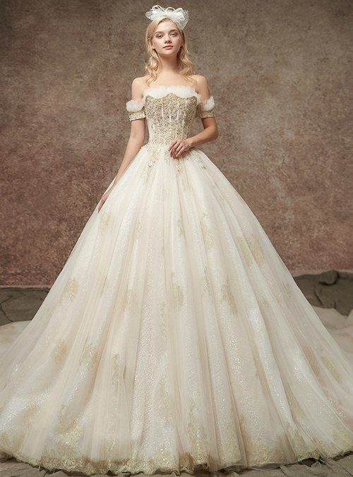 Silhouette Ball Gown Hemline Floor Length Neckline Off The Shoulder Fabric Tulle Shown Color Champag Princess Wedding Dresses Wedding Dresses Lace Ball Dresses
