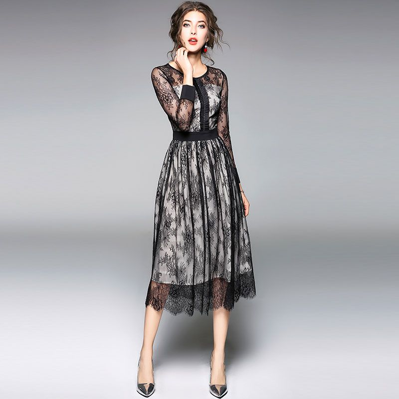 Luxury Black Lace Women Dress New Arrival 2018 Spring Fashion O Neck