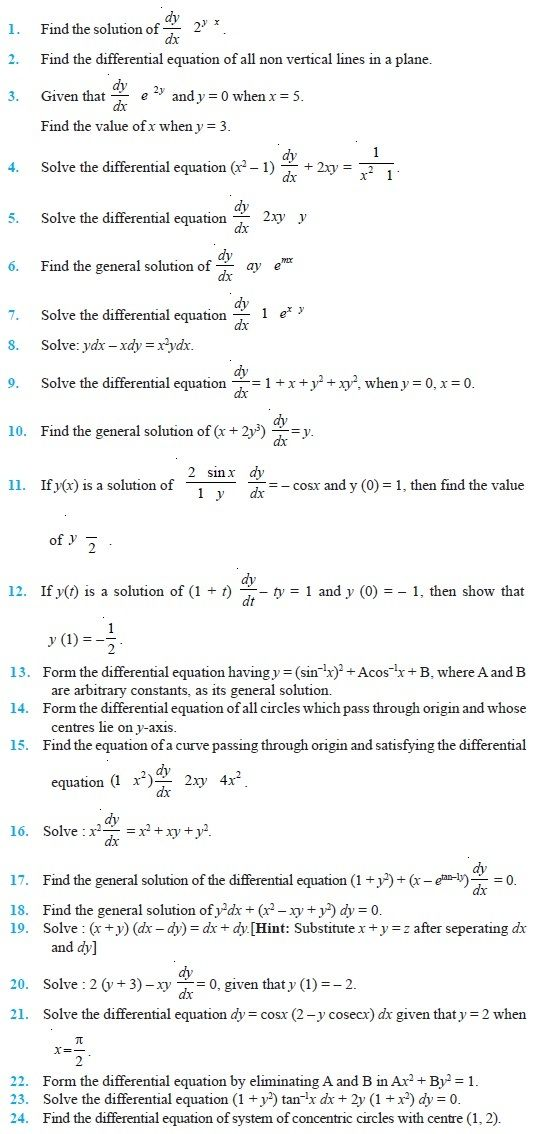 Class 12 Important Questions For Maths Differential Equations