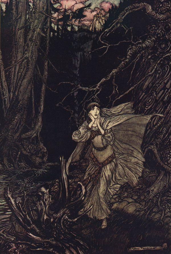 Bertalda In The Black Valley Ilustracion De Arthur Rackham Para Undine Cuento De Friedrich De La Motte Fouque 1909 Ilustraciones Arte Arte Fantasia