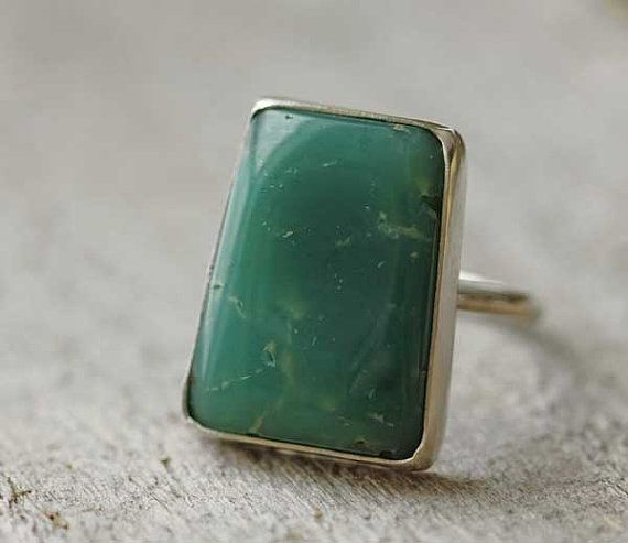 Chrysoprase & Sterling Silver Ring Art Deco by leChienNoirJewelry, $85.00