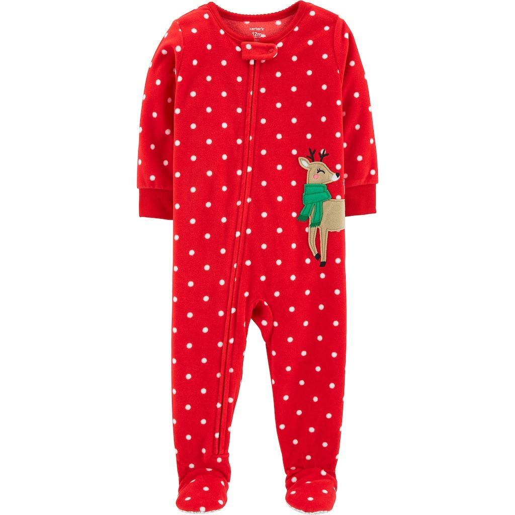 b49b3e66011d Baby Girl Carter s Microfleece Polka-Dot   Reindeer Footed Pajamas ...