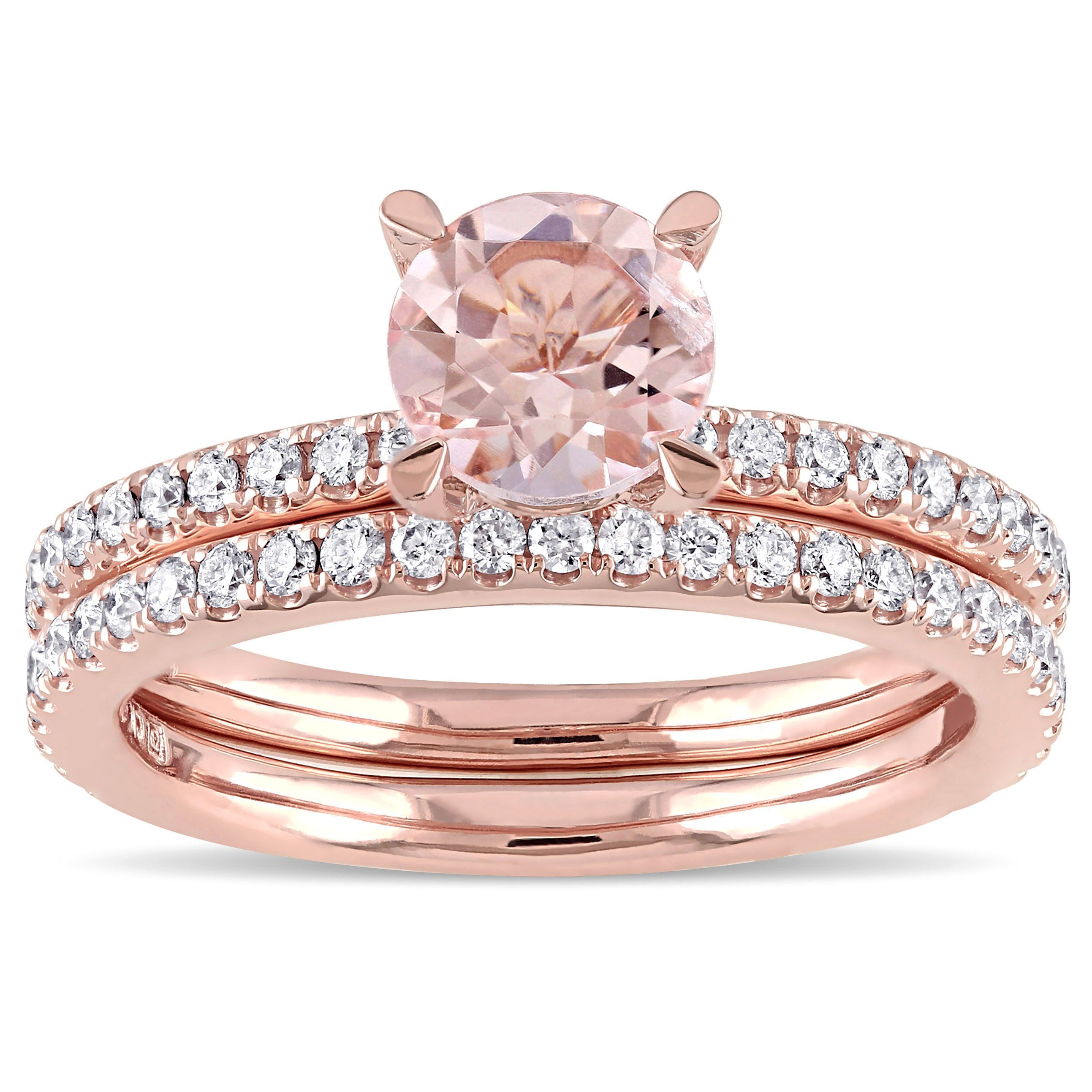 Miadora Signature Collection 14k Rose Gold Morganite and 3/5ct TDW ...