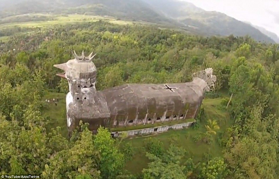 Incredible images of the mysterious abandoned 'Chicken Church' built in the Indonesian jungle (via Daily Mail)