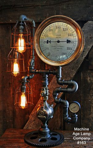 NEW Vintage Industrial Upcycled Steampunk Table Desk Lamp