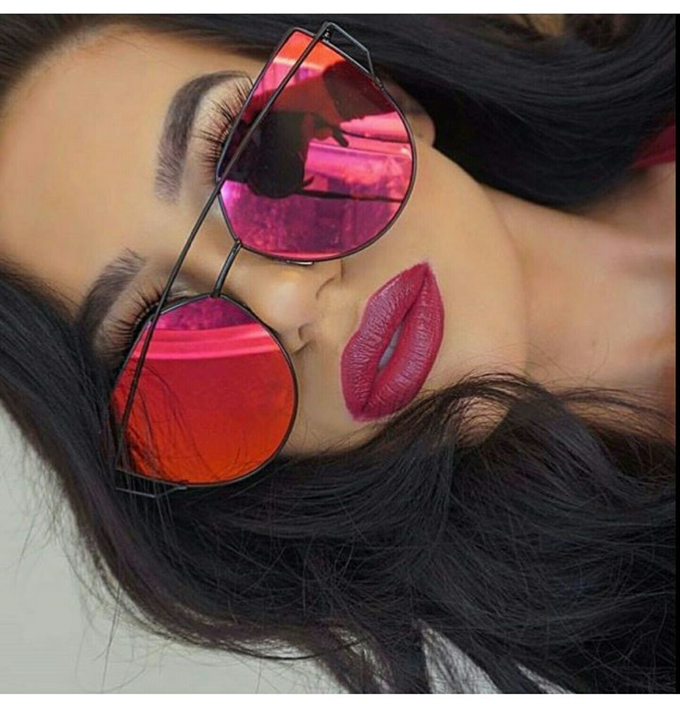 4aebfa795b0 Red Mirrored Reflective Sunglasses 2016 - Cat Eye Style Celeb Kylie Marbs