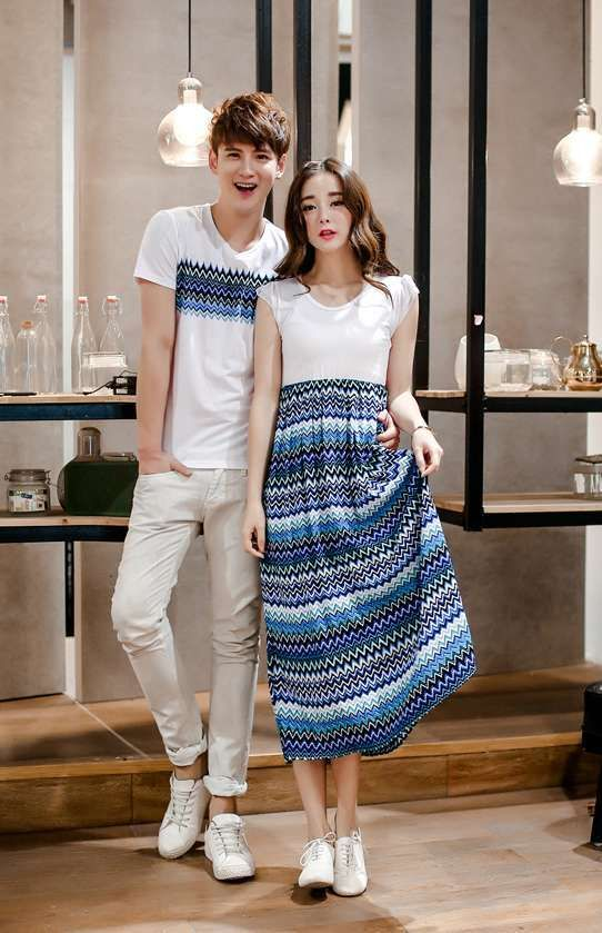 308110217 Summer Korean Style Fashion T Shirt and Beach Dress Sheath Couple Clothing