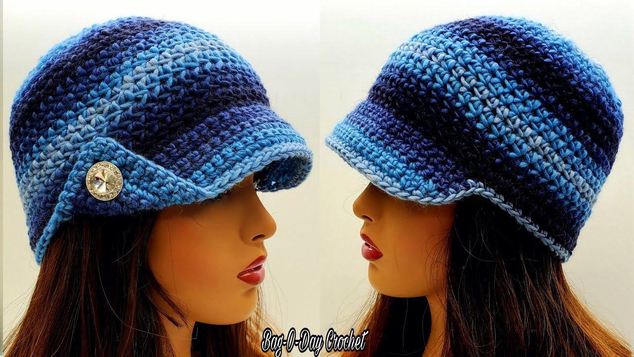 How To Crochet An East Newsboy Hat With Brim Crochet Beanie Bag O Day Crochet Tutorial 670 Youtube In 2020 Crochet Hat For Women