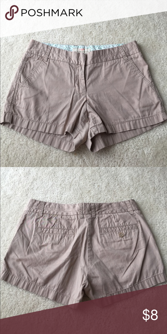 "J. Crew 3"" Chino Shorts J. Crew 3"" Chino Shorts in a tan color! Good condition, no stains but very MINOR pilling by the crotch. Well loved and have a lot of life left in them. J. Crew Factory Shorts"