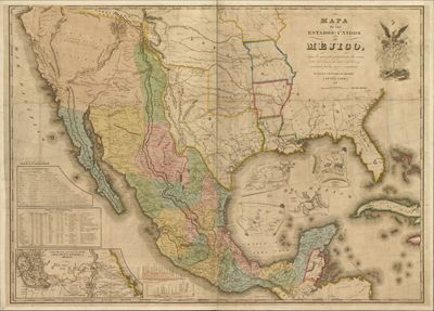 Mexico United States Mexico Cuba Southern USA Antique - Map of southern us and mexico