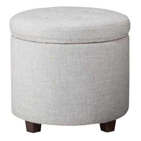 Round Tufted Storage Ottoman Gray Textured Weave Threshold