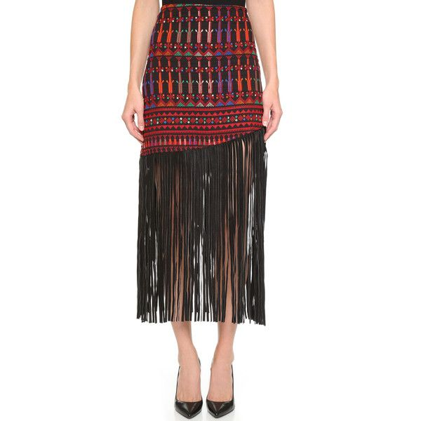 All Things Mochi Palestine Fringe Skirt ($455) ❤ liked on Polyvore featuring skirts, red multi, red leather skirt, real leather skirt, fringe skirt, colorful skirts and leather skirt
