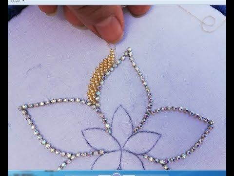 Hand Embroidery;Beautiful Flower With BeadsPearl - YouTube #embroidery