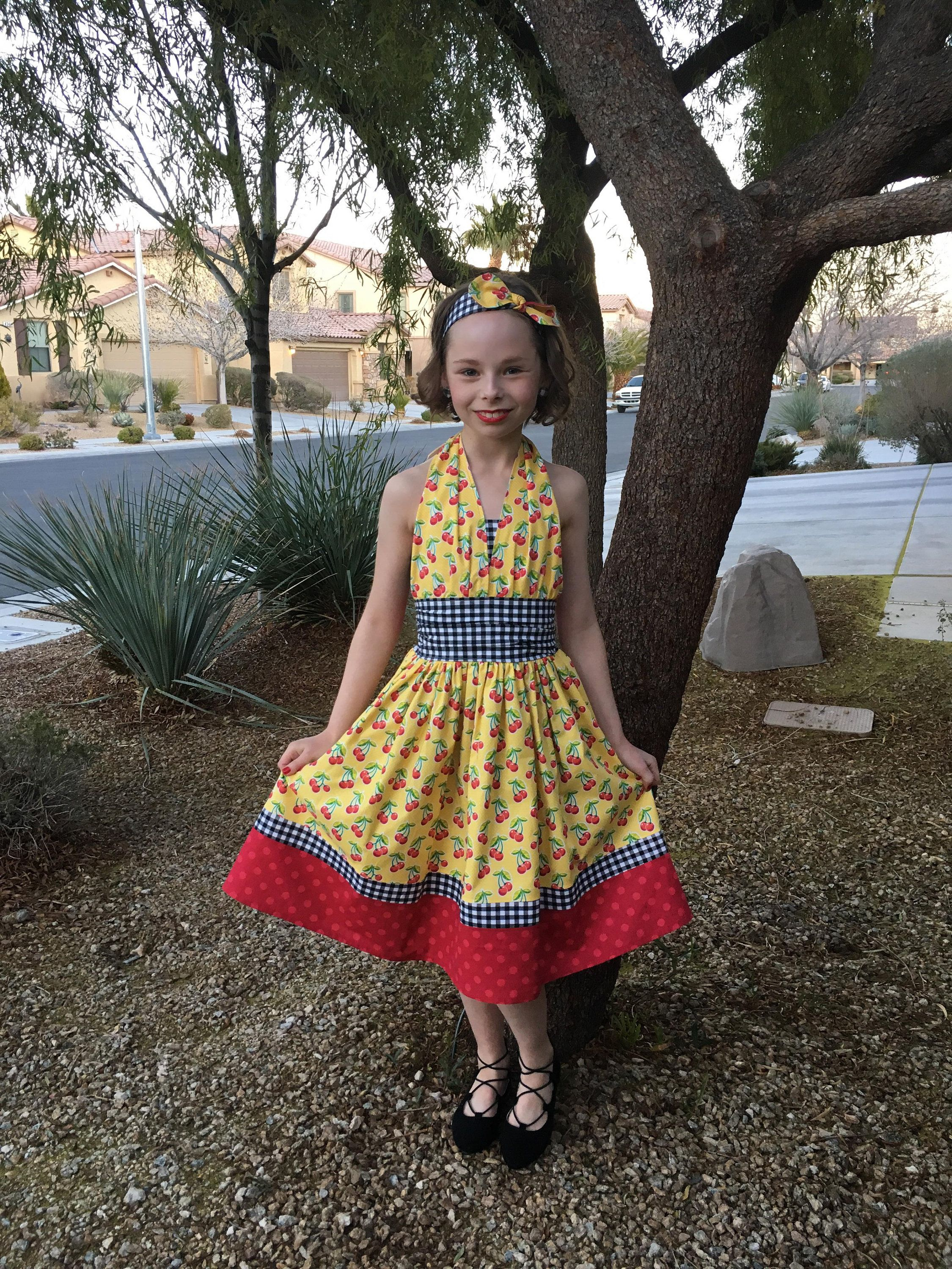 Girl 50s dress 50s outfit cherries daddy daughter dance