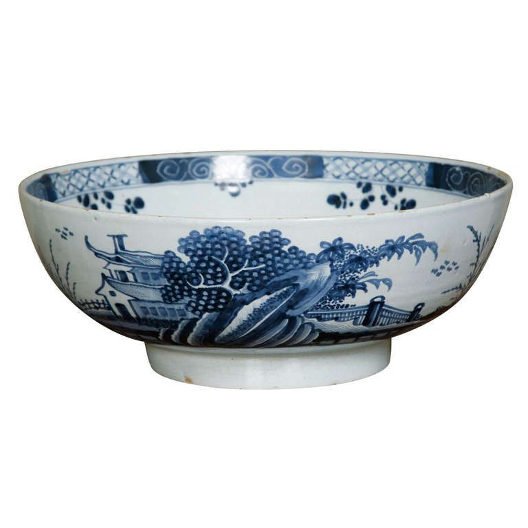 English Delft Chinoiserie Punch Bowl, circa 1760 | From a unique collection of antique and modern bowls at http://www.1stdibs.com/furniture/dining-entertaining/bowls/