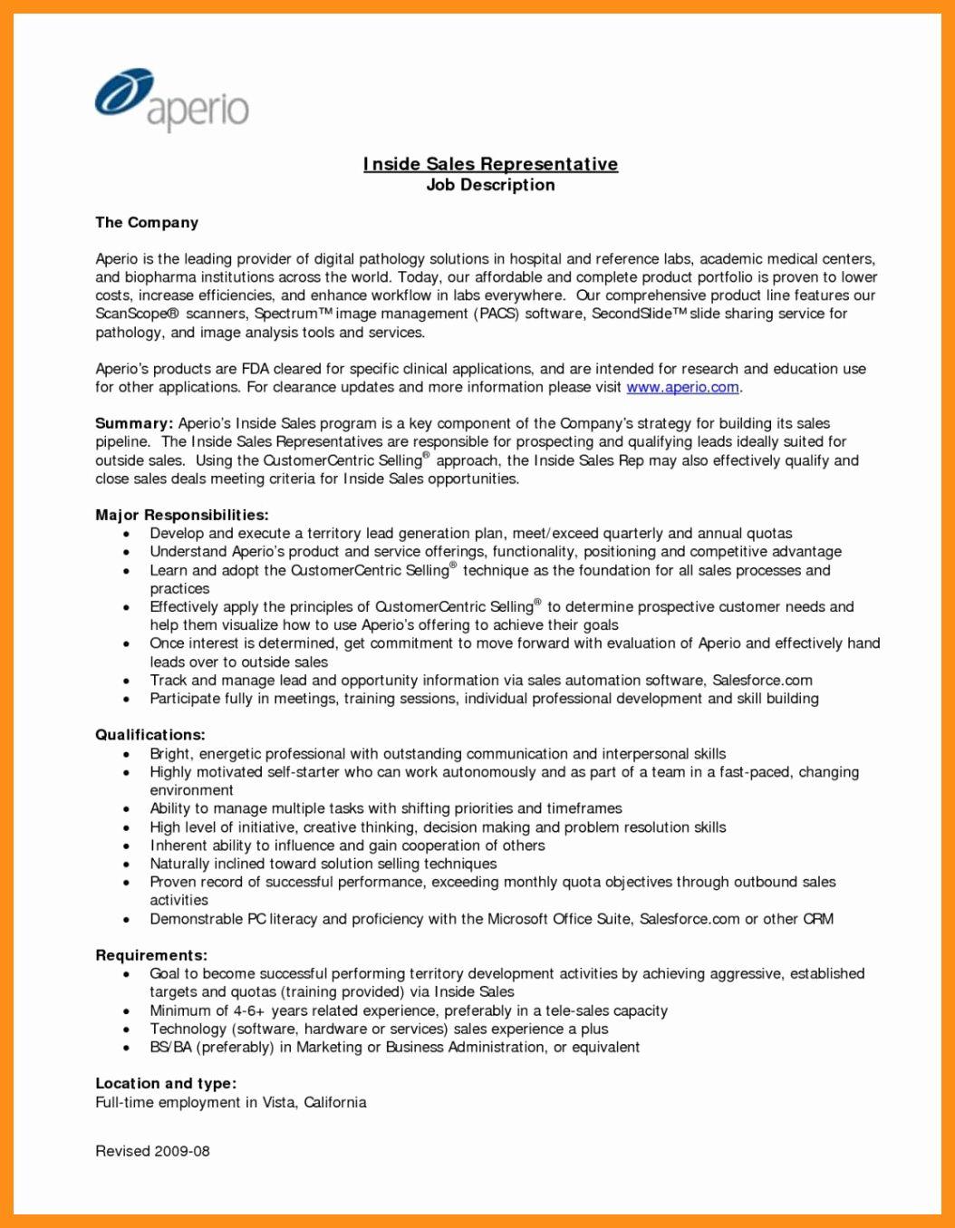 Sales Manager Job Description Resume Unique 11 12 Sales