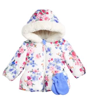 866523ea6530 S. Rothschild Floral-Print Hooded Puffer Coat With Faux-Fur Trim ...