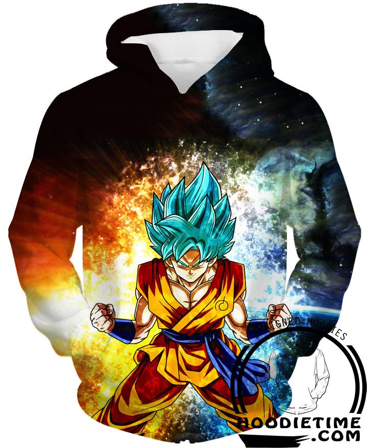 ec205a30f Dragon Ball Z Hoodies - Super Saiyan Blue Goku Hoodie SSB - DBZ 3D ...