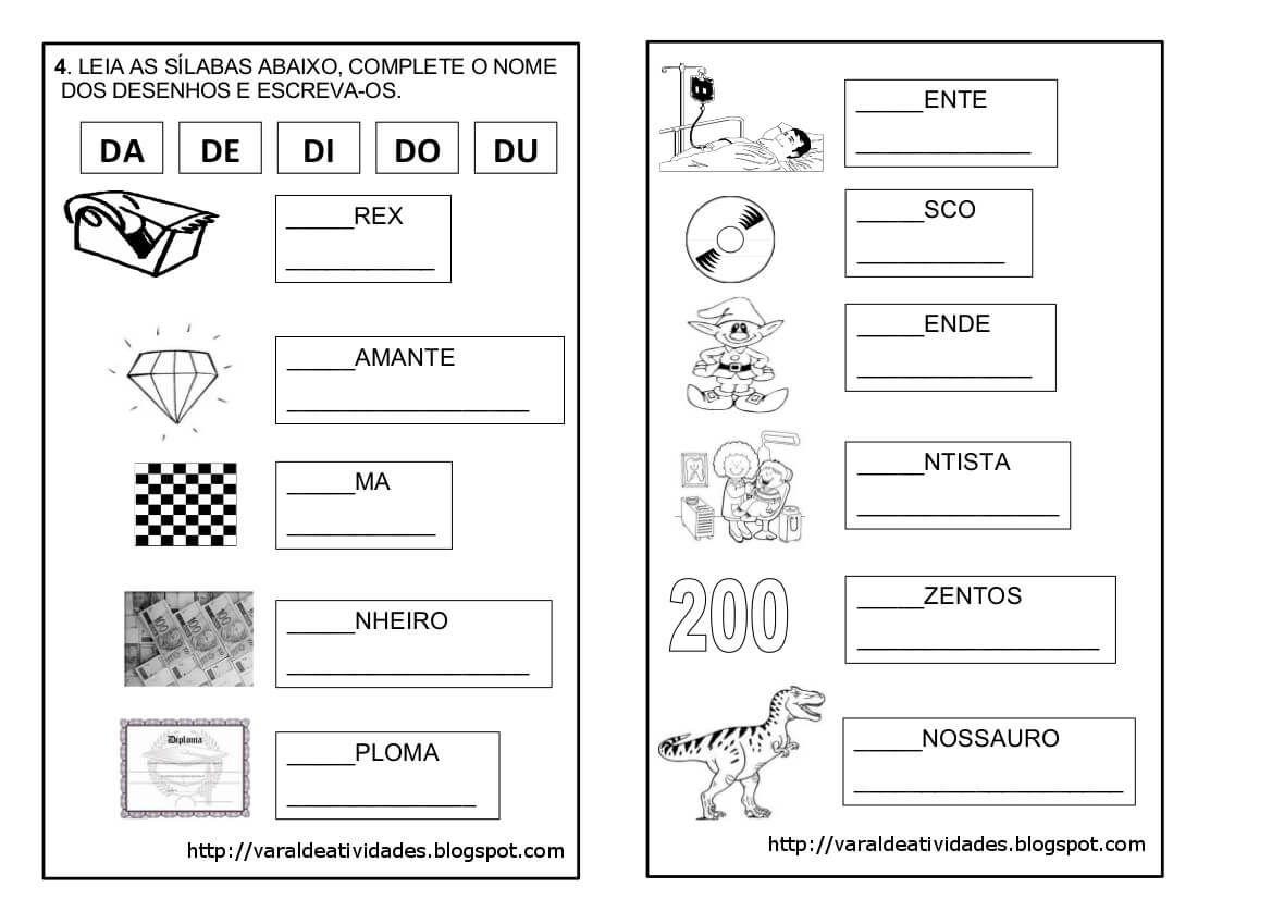 Atividades Silabas Com Da De Di Do Du Para Imprimir Letra D