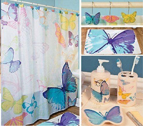 Colorful Butterfly Complete 17 Pc Bathroom Set With Mat Shower