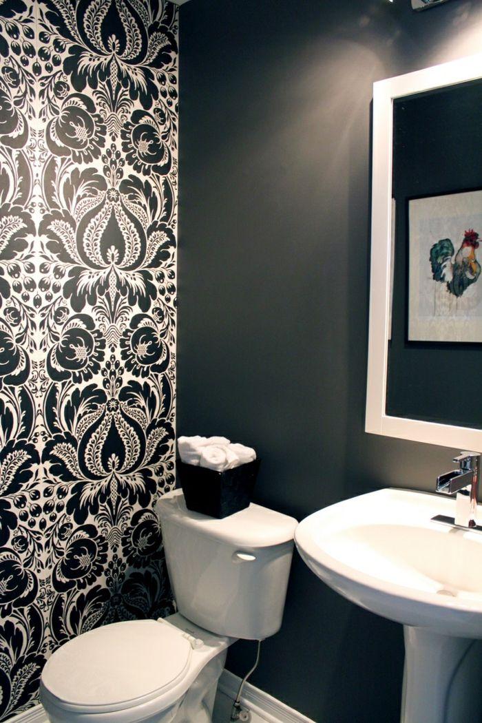 tapete muster badezimmer wandgestaltung elegante wandtapete weiß - muster badezimmer