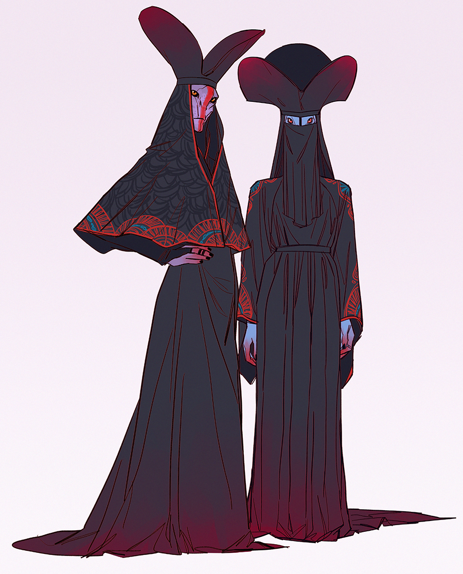 THAT NIKOLAS'S ART BLOG • a widow and her sister-in-law in funeral attire