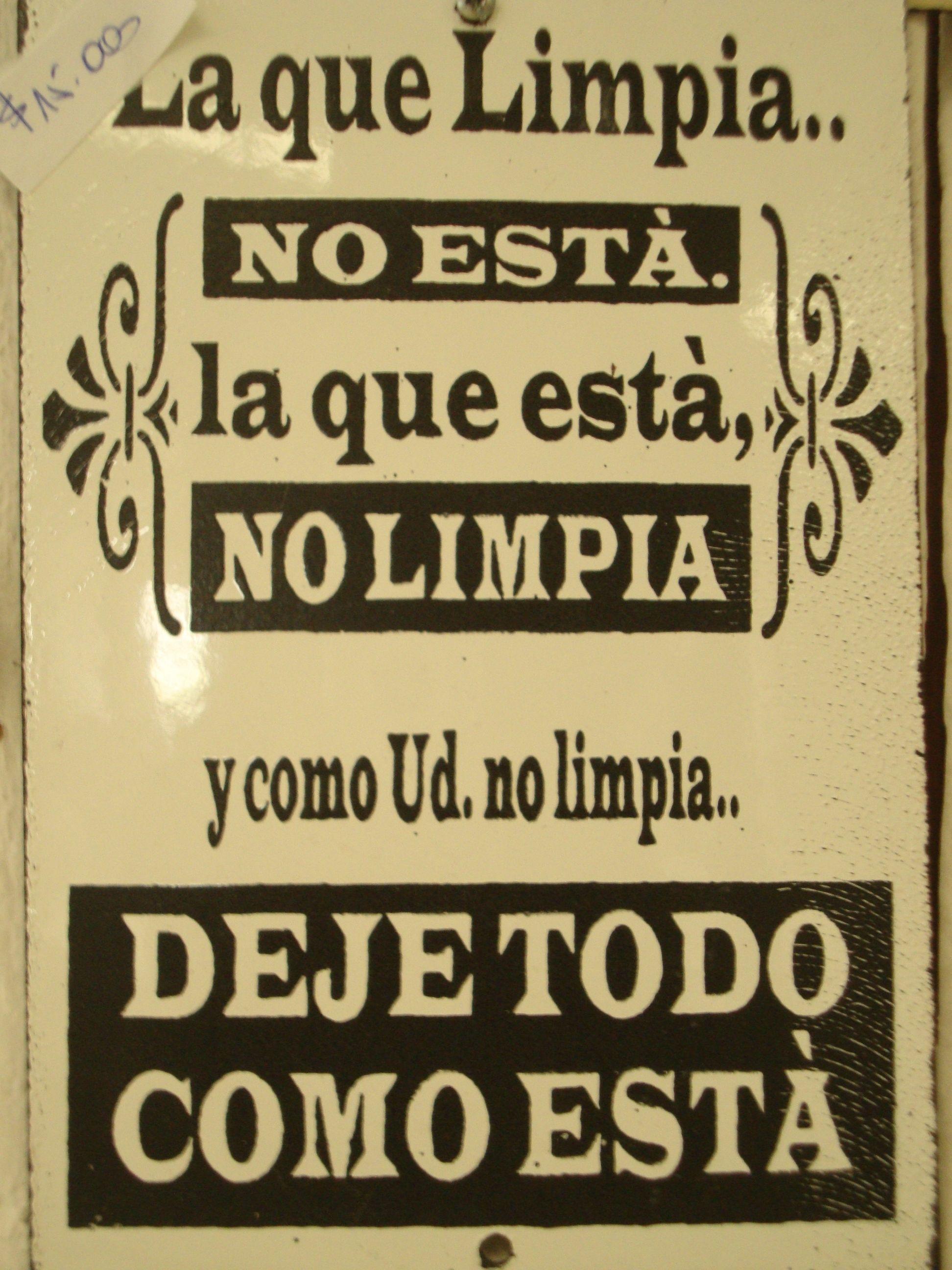 Letrero Enlozado La Que Limpia Favorito De Las Mujeres  ~ Por Donde Empezar A Limpiar Una Casa