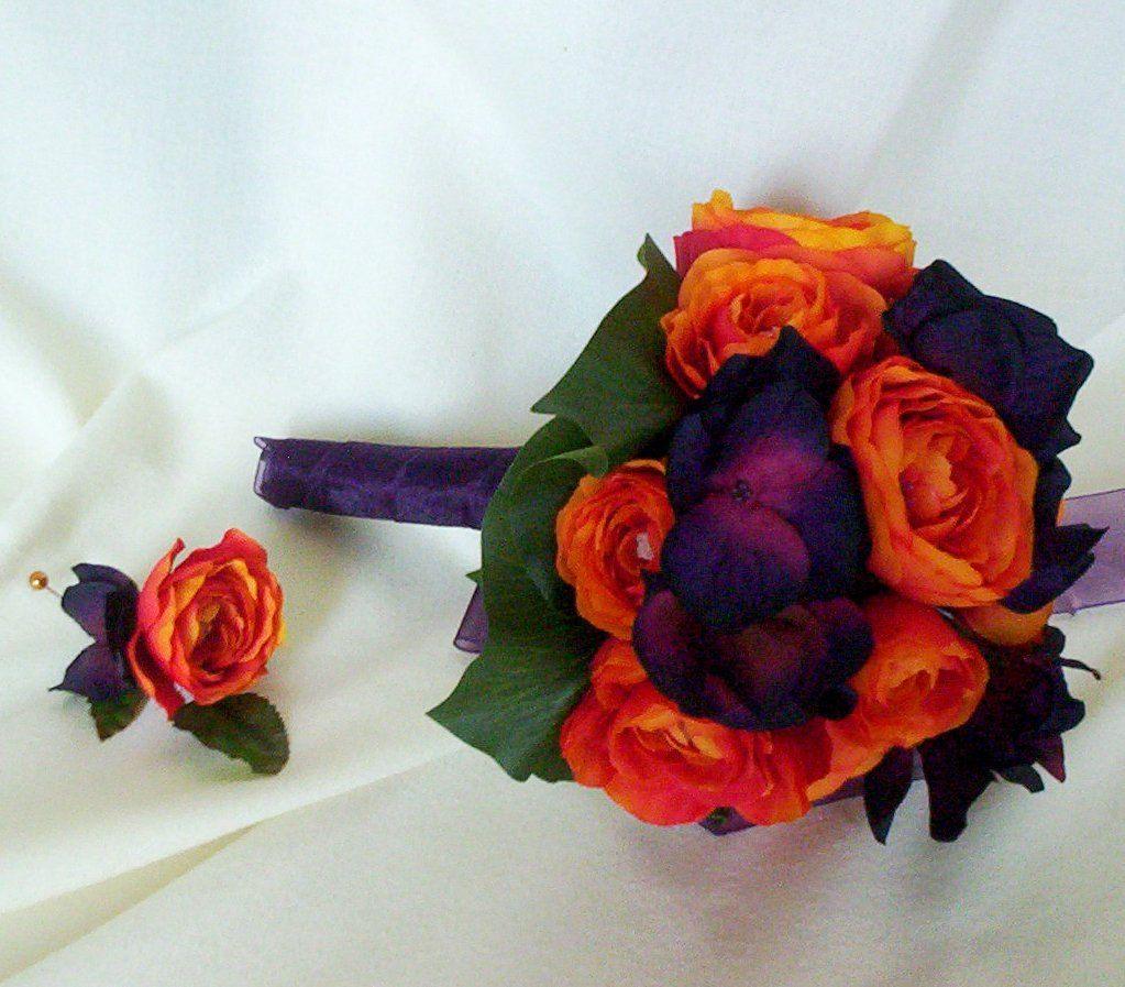 Wedding Bouquets Fall Orange Purple Ivory Silk Wedding Flower Package For Jennifer
