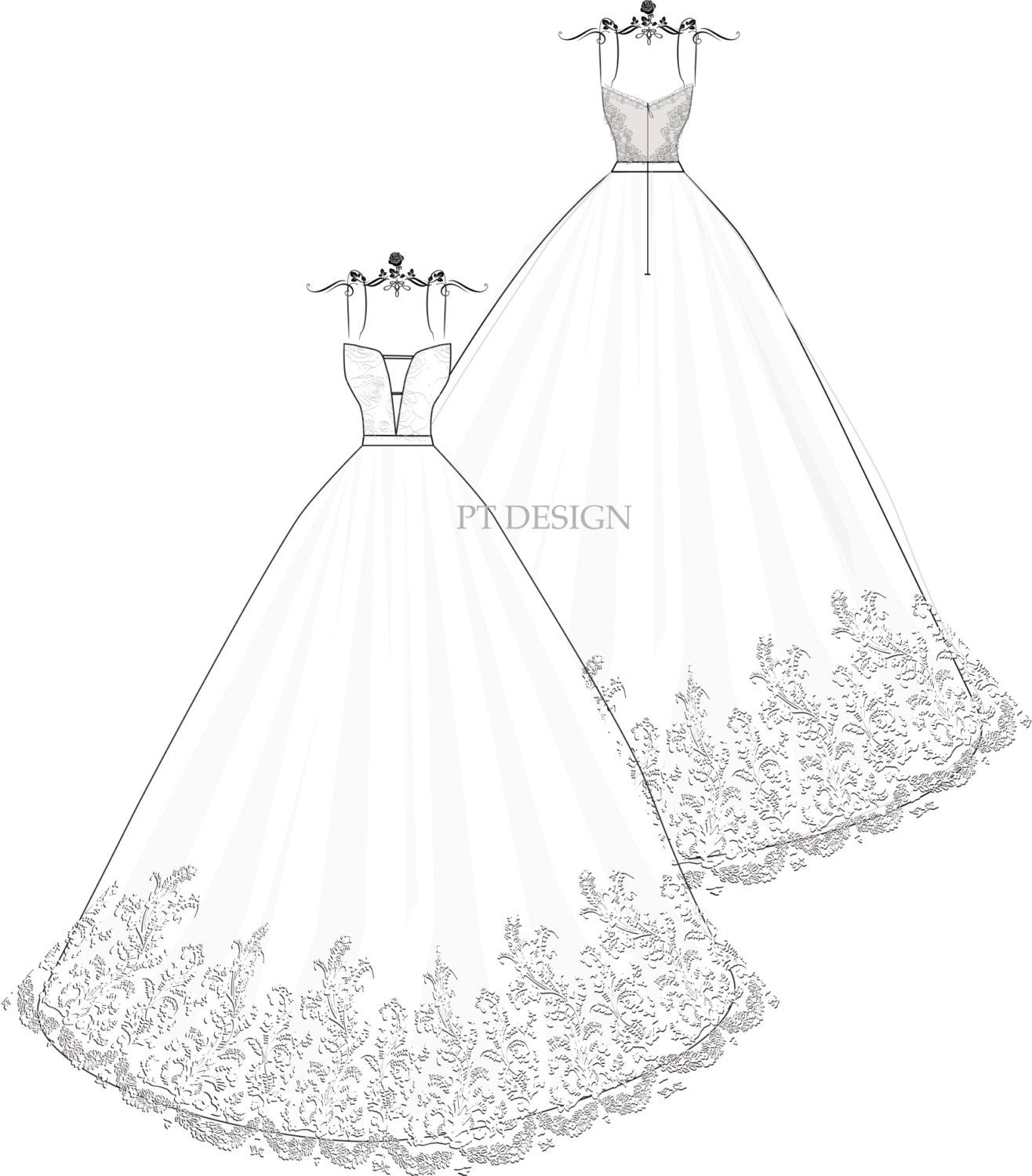 Custom Wedding Dress Sketch Detachable Ball Gown with by PTsketch ...