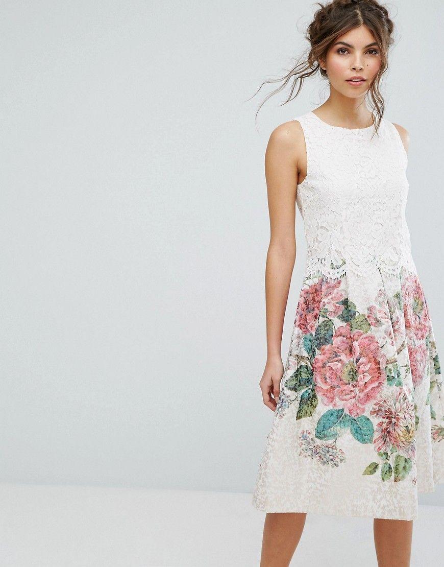 c352ca4cf7e8 Oasis Royal Worcester Lace Top Floral Jacquard Midi Dress - Multi ...