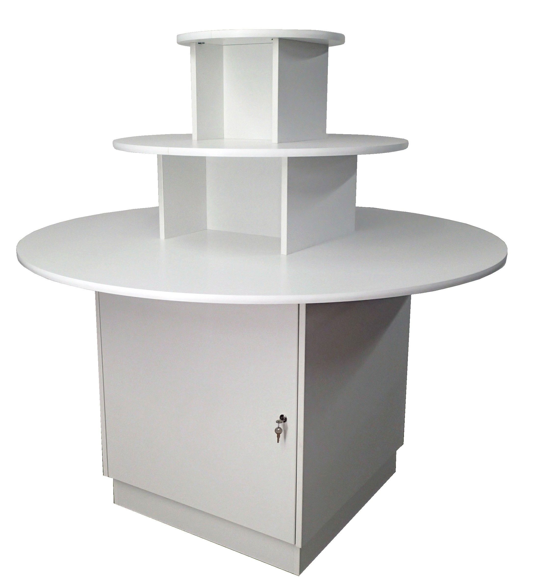 Three Tier Round Display Table With Storage Fixture Case Table Storage Table Shop Shelving
