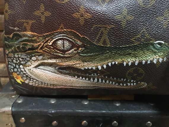Hand painted Louis Vuitton gator by TalkingSnake27 on Etsy