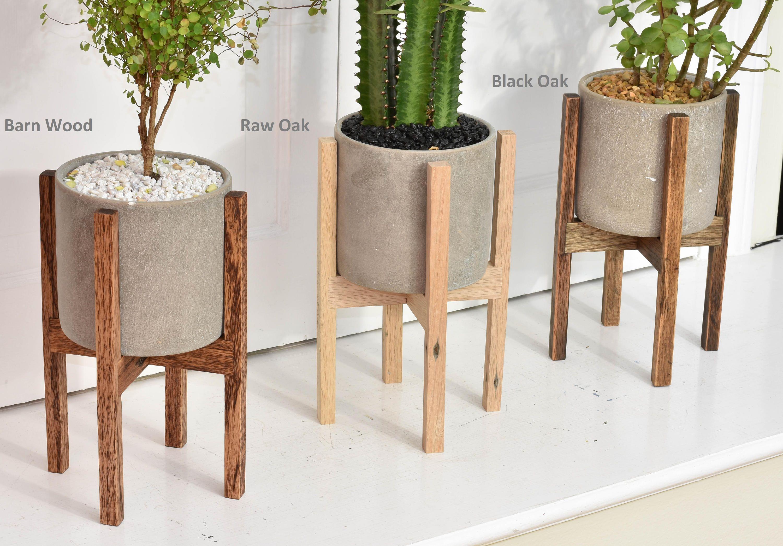 Small Mid Century Modern Plant Stand With Cement Pot Indoor Plant Stand With Concrete Pot Modern Planter Stand With Cement Pot Macetas De Concreto Soportes De Plantas En Interiores Masetas