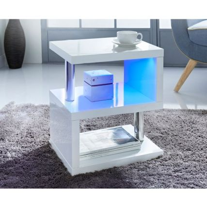 Alaska High Gloss Side Table White Gloss Side Table Glass