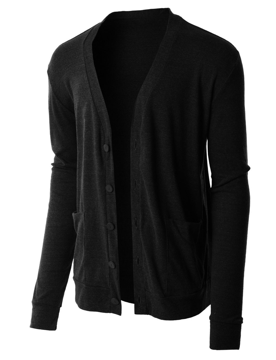 PREMIUM Mens Lightweight Soft Ribbed Knit V Neck Cardigan Sweater ...