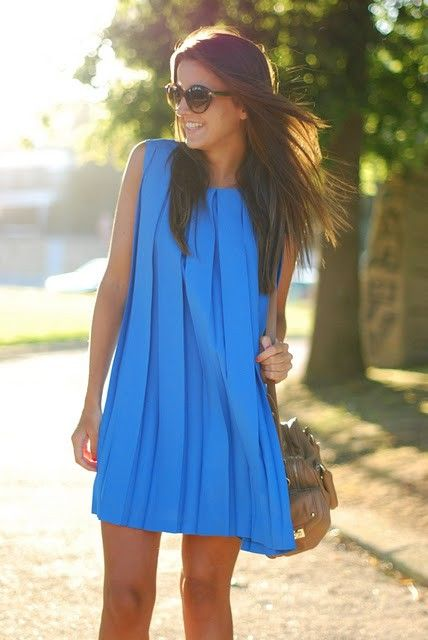 blue pleated dress
