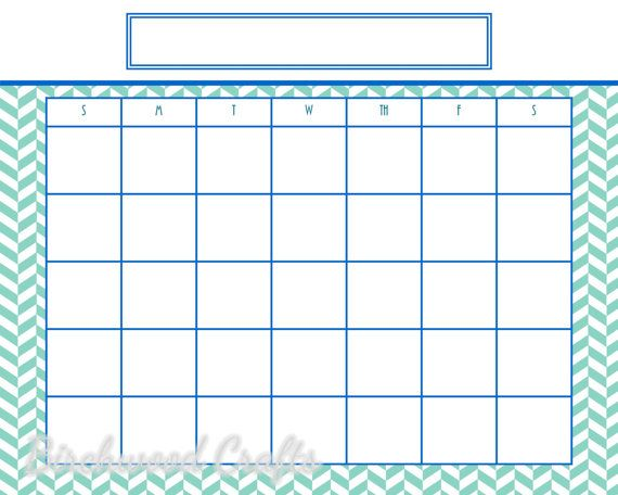 Printable Monthly Calendar Template For Framed By Birchwoodcrafts