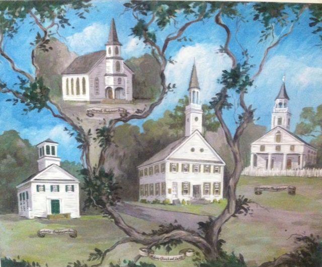 Painting by Chris Walker....  Midway Church (center)  Flemington Presbyterian Church (right)  Walthourville Presbyterian Church (top left & Dorchester Presbyterian Church (bottom left)