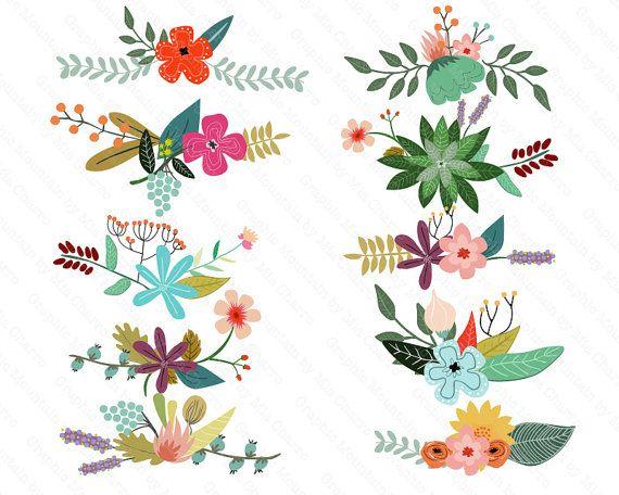 Flores Vintage Vector Clip Digital Floral Arte Conjunto De