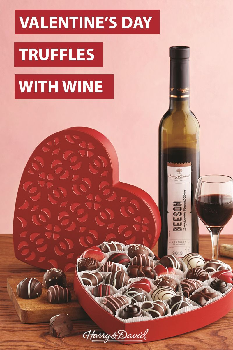 Wine And Dine Your Valentine With This Heart Shaped Gift Box And Harry David Vineyards Vintage Inside T Valentine S Day Gift Baskets Wine Desserts Truffles