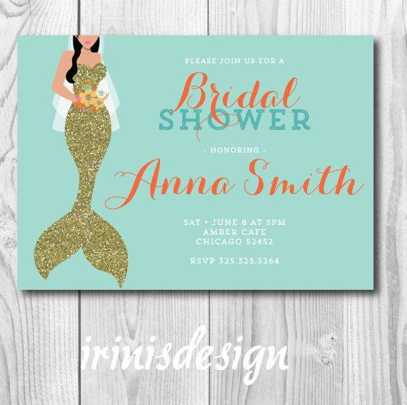 mermaid bridal shower invitation gold glitter by irinisdesign