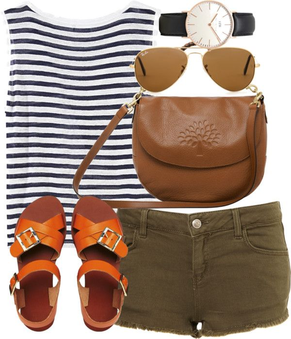 striped tank and orange sandals