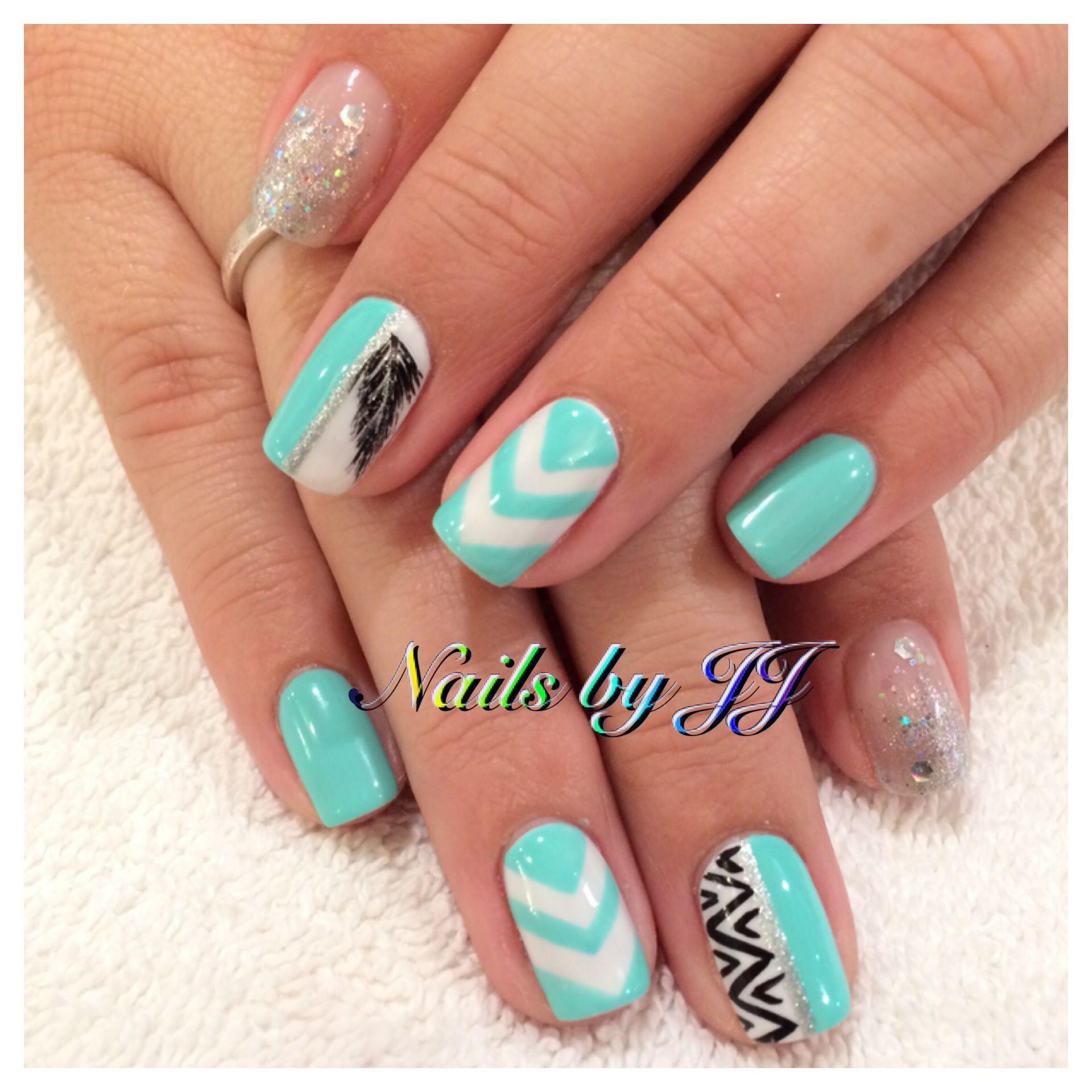 Tiffany blue gel nails done by JJ. Amazing nails. Chevron nails ...