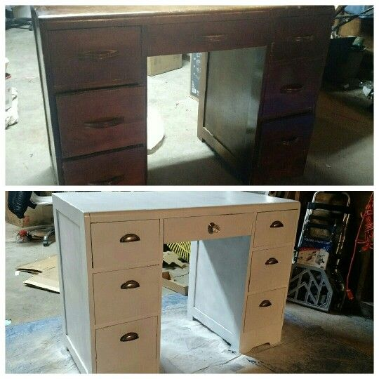 DIY make-up vanity!! Just spray paint and new handles. I am so proud of this outcome.