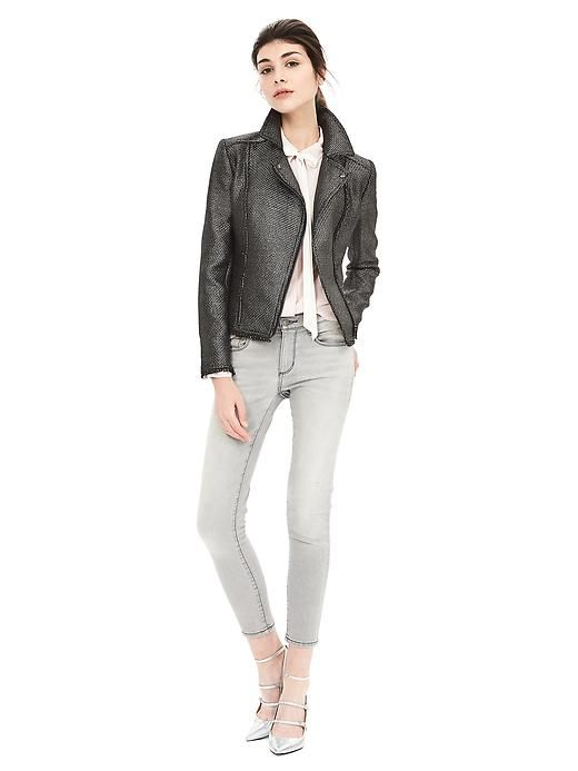 This metallic moto blazer will add the perfect amount of edge to any street style look this winter   Banana Republic