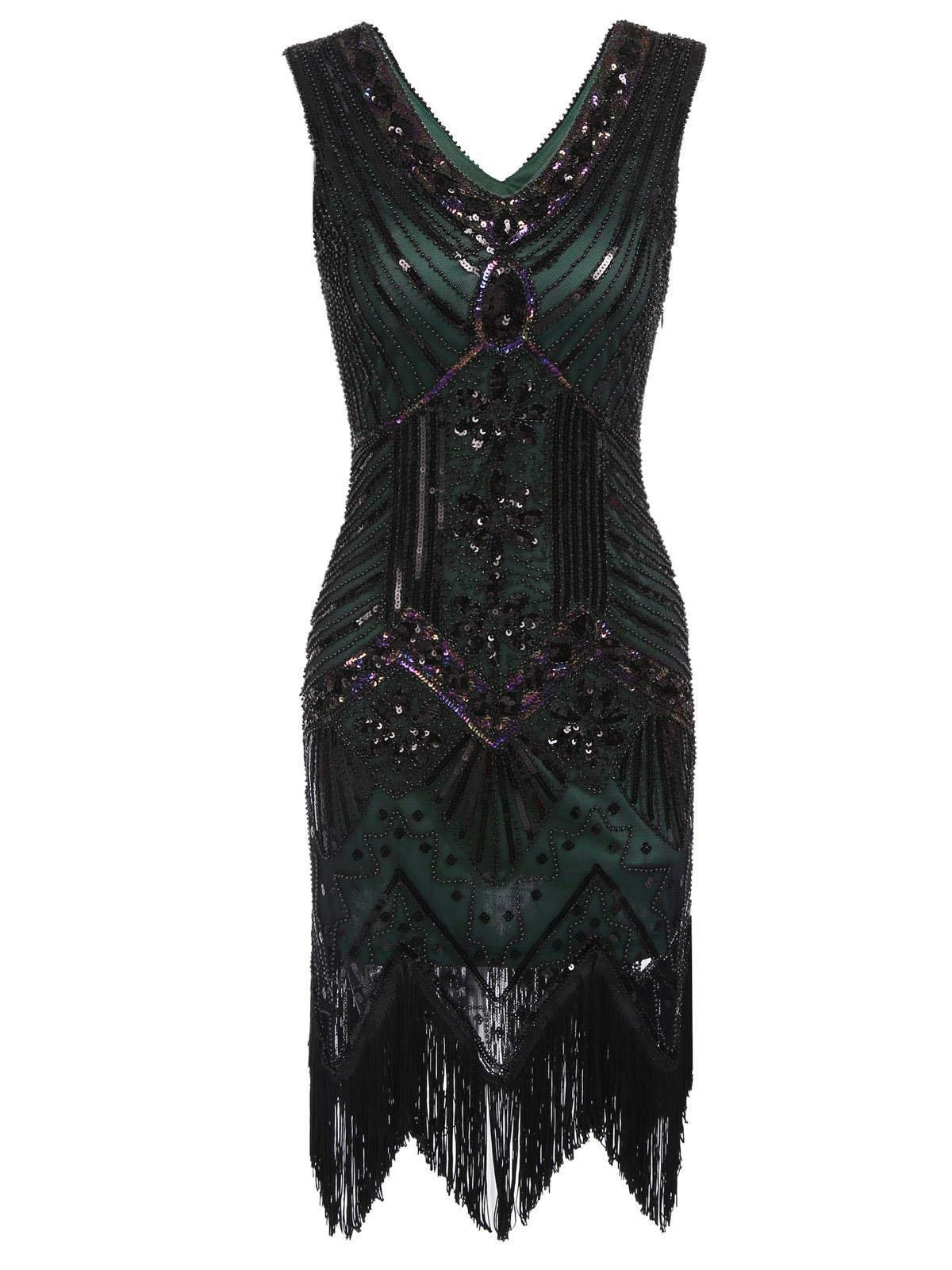 f03156c9 Dark Green 1920s Sequined Deco Flapper Gatsby Dress – 1920 Fashion Dress