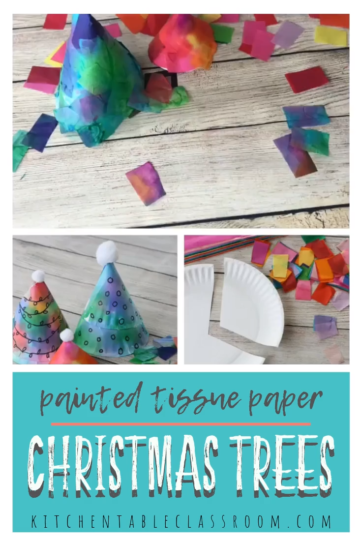 This Christmas tree craft uses just a paper plate and tissue paper to make this colorful tabletop Christmas tree! #Christmascraft #Christmascraftsforkids #Christmastree